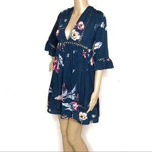 Anthropologie Jasse Boho Blue Floral Dress B10